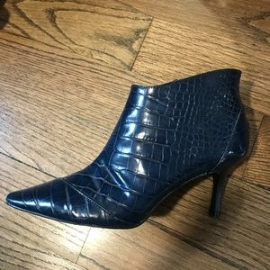 Zara Leather Crocodile Embossed Bootie